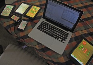 Picture of laptop computer surrounded by mobile devices