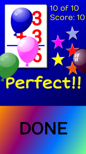 "Poppable balloons on a ""perfect game"" reward display"